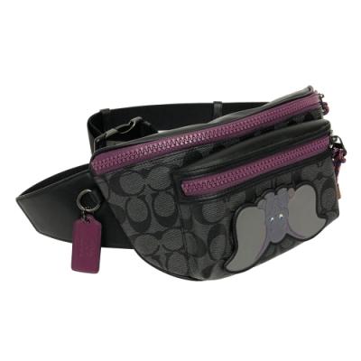 COACH X DISNEY限量聯名小飛象腰包/胸前包(黑灰/紫)