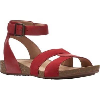 クラークス サンダル シューズ レディース Un Perri Loop Ankle Strap Sandal (Women's) Red Combination Full Grain Leather