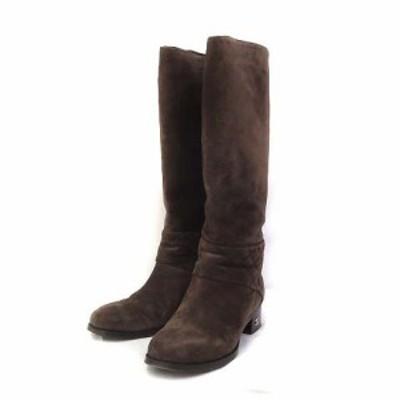 【中古】シャネル ロング ブーツ 36 1/2 23.5cm 茶 ブラウン スウェード マトラッセ CC ココマーク キルティング G28424 美品 レディース