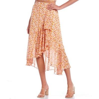 ルーシーパリ レディース スカート ボトムス Floral Print Faux Wrap Ruffle Hem Midi Skirt
