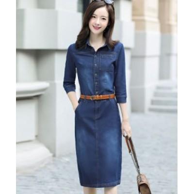 デニム カジュアル ワンピース ひざ丈 5分丈袖 シングルブレスト 夏服 秋服 韓国 ファッション