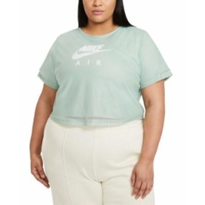 ナイキ レディース シャツ トップス Air Plus Size Mesh-Overlay T-Shirt Steam/White
