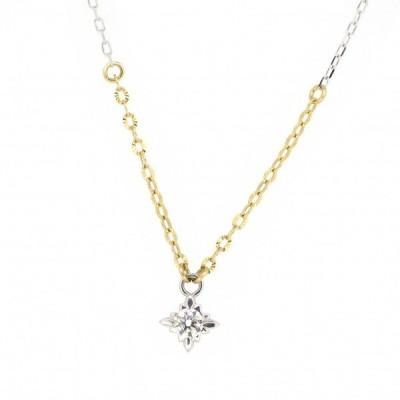 一粒 ゴールドネックレス(チェーン付きペンダント) 星 スター 十字星 18金 イエローゴールド ホワイトゴールド