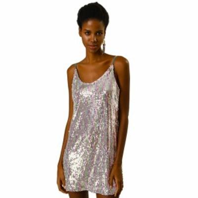 Allegra K ミニドレス ワンピース スパンコール パーティー クラブウェア ダンス 衣装 レディース シルバー ピンク S