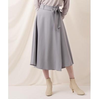 Couture Brooch(クチュールブローチ) カルゼラップ風イレギュラーヘムフレアスカート