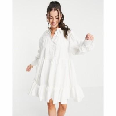 エイソス ASOS EDITION レディース ワンピース ミニ丈 シャツワンピース ワンピース・ドレス Oversized Trapeze Mini Shirt Dress In Whi