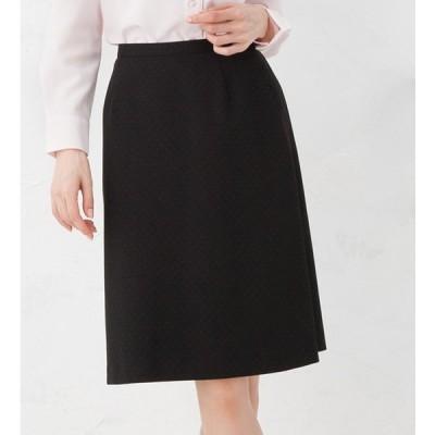 抗菌 消臭の清潔加工!スクエアドットAラインスカート Tio Tio 事務服 オフィス 通勤 フォーマル ひざ丈 きれいめ