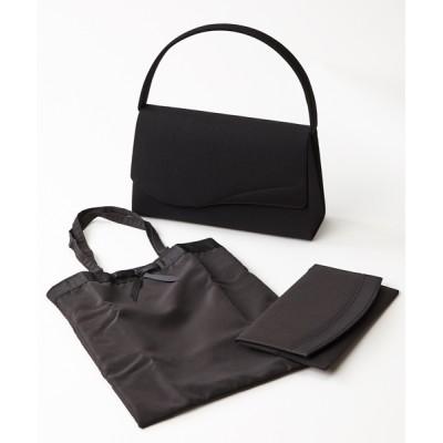 バッグ ハンドバッグ 【喪服用】アーチフラップ ブラックフォーマルバッグ【袱紗・サブバッグSET】