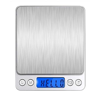 Angeno デジタルスケール 電子天秤 0.01g?500gまで精密な計量器 風袋引き機能付き 料理用電子はかり お菓子作り用 (シルバー