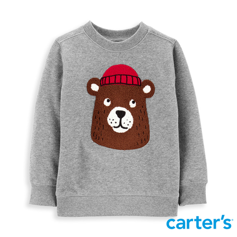 Carter's 台灣總代理 毛帽熊熊長袖上衣