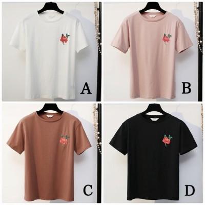 レディース トップス Tシャツ 半袖 綿 コットン混 シンプル ワンポイント 花柄 刺繍  ゆったり カジュアル 大人可愛い フェミニン デート お出