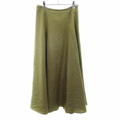 【中古】ルノンキュール Lugnoncure スカート フレア ミモレ丈 無地 F 緑 グリーン /MO レディース