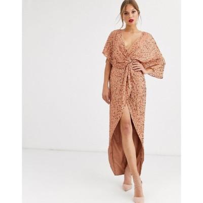 エイソス マキシドレス レディース ASOS DESIGN scatter sequin knot front kimono maxi dress エイソス ASOS