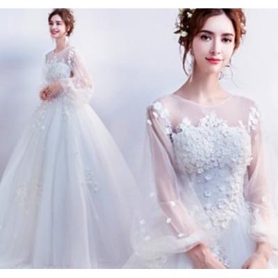 結婚式ワンピース ウェディングドレス 大人の魅力 花嫁 ドレス きれいめ 長袖 姫系ドレス ホワイト色