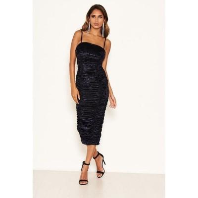 アックスパリ レディース ワンピース トップス Women's Velvet Ruched Bodycon Dress