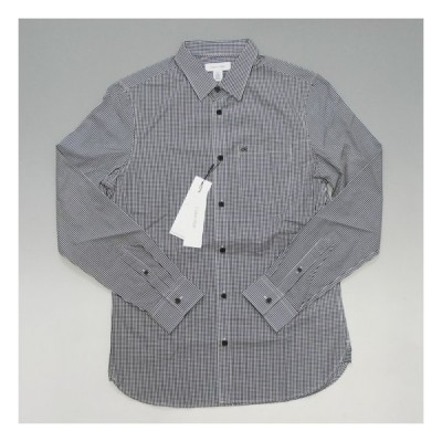 Calvin Klein カルバンクライン ck刺繍ロゴ ギンガムチェックシャツ ブラック/ホワイト