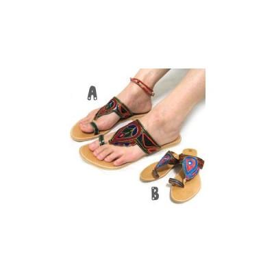 刺繍サンダル エスニックサンダル エスニックファッション アジアンファッション アウトレット セール/エスニックアリワークサンダル