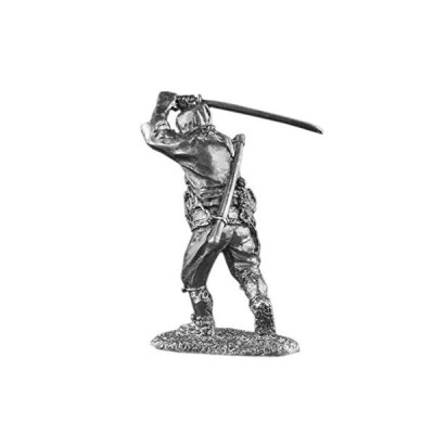 Japanese Ninja Samurai Sword Attack UnPainted Tin Metal 54mm Action Figures Toy Soldiers Size 1/32 Scale for Home D〓cor Accents Collectible