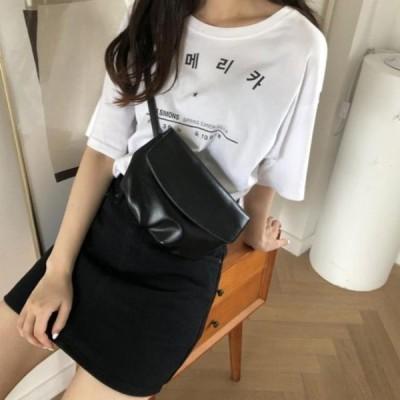 picknfit レディース ショルダーバッグ Basic Plain Flip Round Ruffle Shoulder Bag