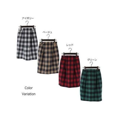 先染めチェックタイトスカート