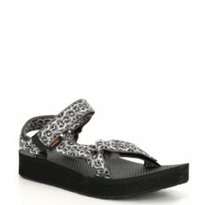 テバ レディース サンダル シューズ Women's Midform Universal Leopard Print Sandals Dorinda White/Black