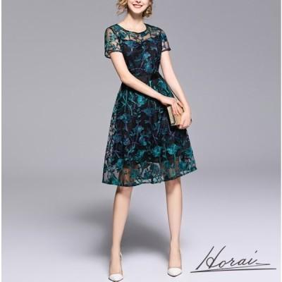 ドレス 半袖 レギュラー丈 花柄 ウエストリボン ワンピース ワンピドレス お呼ばれ 結婚式 二次会 パーティー お取り寄せ