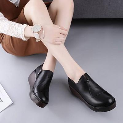 プラットフォームシューズ シューズ レザー 本革 厚底 革靴 靴 レディースシューズ レディース 女性サイズ きれいめファッション ファッション 歩きやすい 疲…