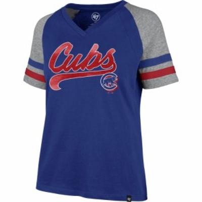 フォーティセブン 47 レディース Tシャツ Vネック トップス Chicago Cubs Royal Pavilion V-Neck T-Shirt