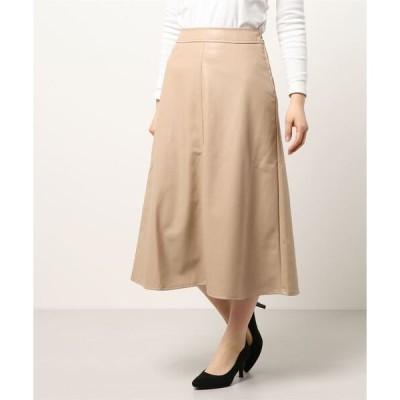 スカート 合皮フレアスカート