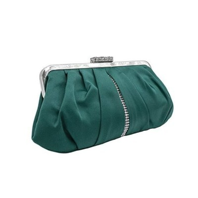 Classic and Elegant Pleated Satin Clutch Purse With Diamond Embellished Des