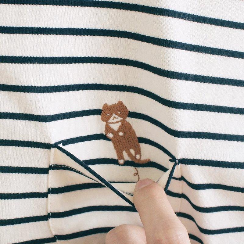 (預購)跳貓條紋T卹:灰白×海軍藍