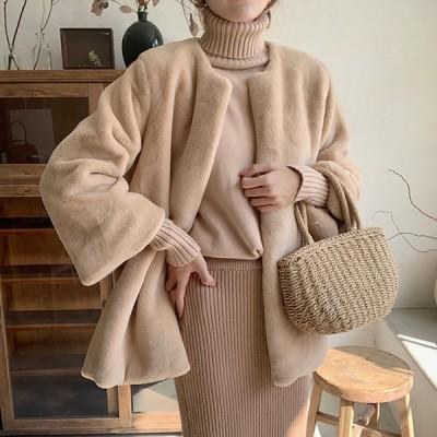 ノーカラーコートファーコートアウターレディース大人上品羽織りミディアム丈ショート丈柔らかふわふわ暖かベージュフリーサイズ