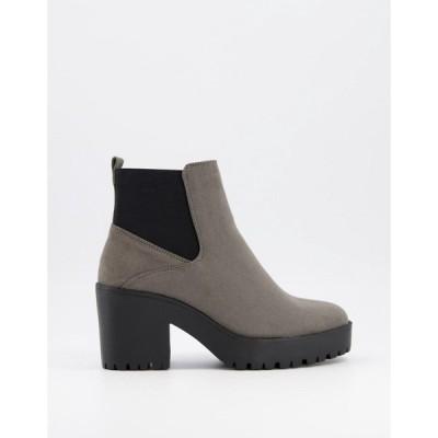 ニュールック New Look レディース ブーツ チェルシーブーツ チャンキーヒール シューズ・靴 heeled chunky chelsea boot in mid grey グレー