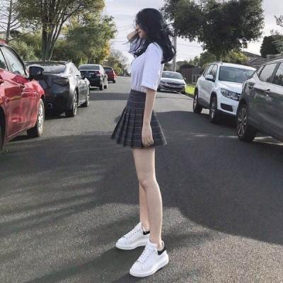 ボトムス レディース ショート丈 スカート チェック柄 ハイウエスト 制服  可愛い 裏地付き 通学 大きいサイズ プリーツ スカート ミニスカート