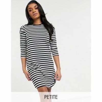 オンリー プティ Only Petite レディース ワンピース ミニ丈 ワンピース・ドレス mini swing dress with puff sleeve in black stripe ブ