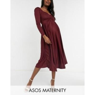 エイソス レディース ワンピース トップス ASOS DESIGN Maternity long sleeve ruched bust midi dress in berry Berry