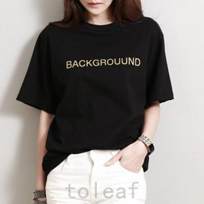 カットソー半袖トップスTシャツ綿コットンロゴバイカラーカジュアルブラック黒レディース春夏
