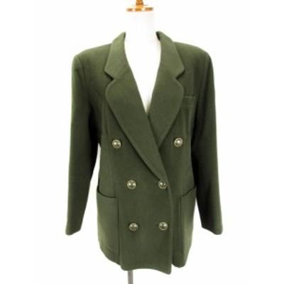 【中古】レリアン Leilian コート ジャケット ダブル ウール 9 緑 レディース