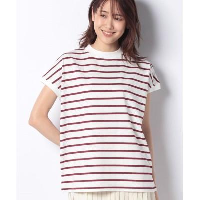 【プレフェリール】 モックネックフレンチボーダーTシャツ レディース ボルドー 40 PREFERIR