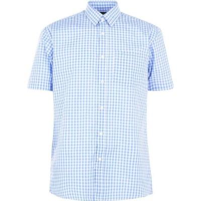 ピエール カルダン Pierre Cardin メンズ 半袖シャツ トップス Short Sleeve Shirt Blue Check