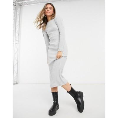 トップショップ レディース ワンピース トップス Topshop puff sleeve ribbed midi dress in gray heather
