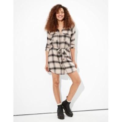 アメリカンイーグル レディース ワンピース トップス AE Plaid Long Sleeve Shirt Dress Cream