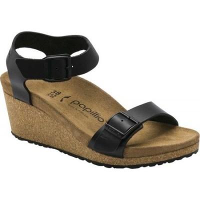 ビルケンシュトック Birkenstock レディース サンダル・ミュール アンクルストラップ ウェッジソール Papillio Soley Ankle Strap Wedge Sandal Black Leather