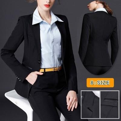 テーラードジャケット レディース スーツ フォーマル オフィス ブラック 黒 ワンボタン スリム 入学式 入園式