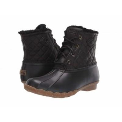 Sperry スペリー レディース 女性用 シューズ 靴 ブーツ レインブーツ Saltwater Winter Lux Black Quilt【送料無料】