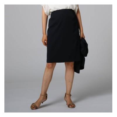 【アンタイトル/UNTITLED】 ポリジンツイル膝丈スカート
