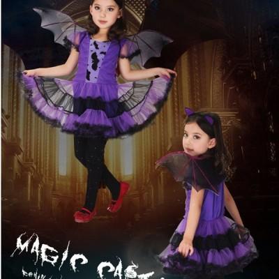 ハロウィン コスプレ 魔女  パープル コウモリ 悪魔  女の子 仮装 可愛い ドレス cosplayコスチューム