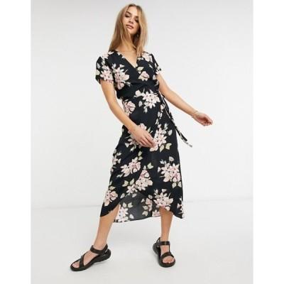 ウエアハウス レディース ワンピース トップス Warehouse floral wrap dress in black