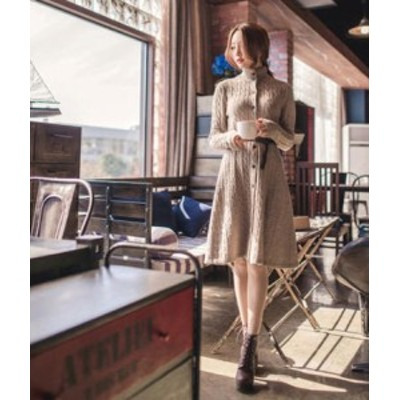 レディース ニットワンピース ひざ丈 ケーブル編み フレア Aライン カジュアル 大人可愛い きれいめ 上品 暖かい 秋冬