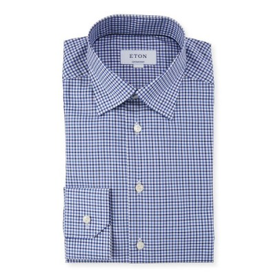 エトン メンズ シャツ トップス Men's Contemporary-Fit Textured Twill Dress Shirt